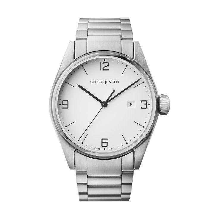 DELTA CLASSIC - 42 mm, Quartz, white dial, steel bracelet