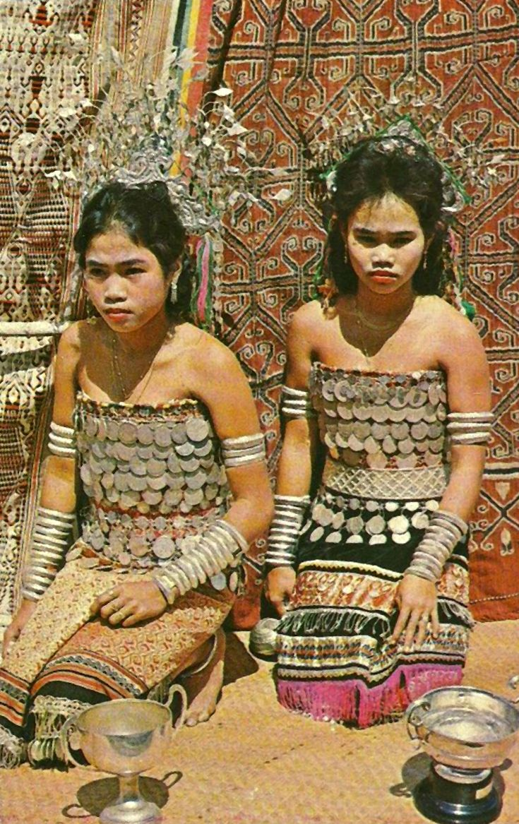 Malaysia | 2 Dayak Maidens Girls. Sarawak, Borneo.  ca. 1950s || Vintage postcard; publisher A.S.M.K and Co.