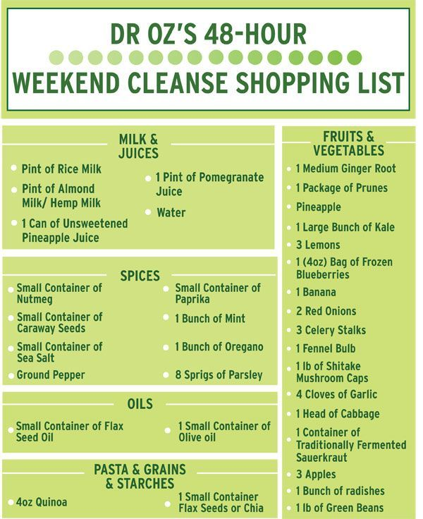 Dr. Oz's 48-Hour Weekend Cleanse Shopping List | The Dr. Oz Show detox diet plan