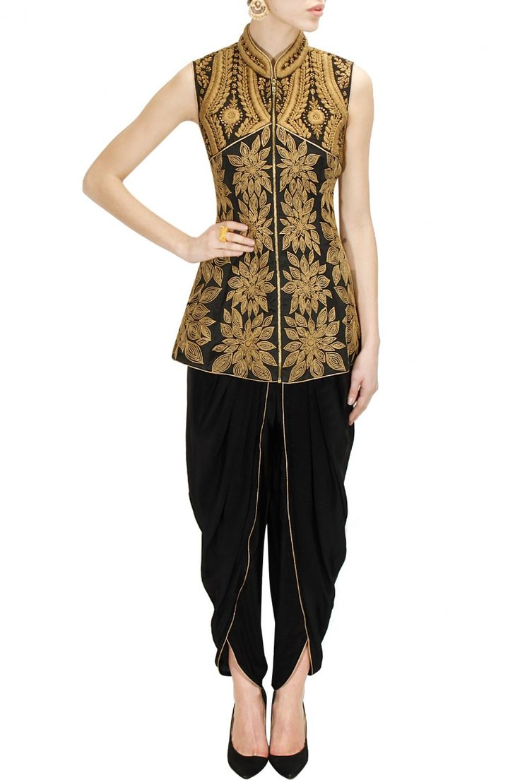 Black dori embroidered peplum jacket with dhoti pants available only at Pernia's Pop-Up Shop.