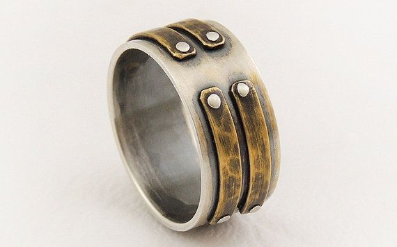 Unique men's wedding band ring - mens engagement ring,sterling silver ring,rustic ring,mens ring,wide band ring on Etsy, $159.00