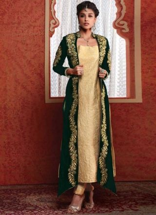 Amazing Green And Cream Zari Work Designer Suit