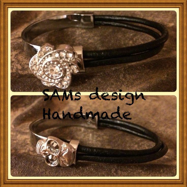 Svarta läderarmband, strassblomma/döskalle Black leather bracelet, strassflower/skull SAMS Design Handmade