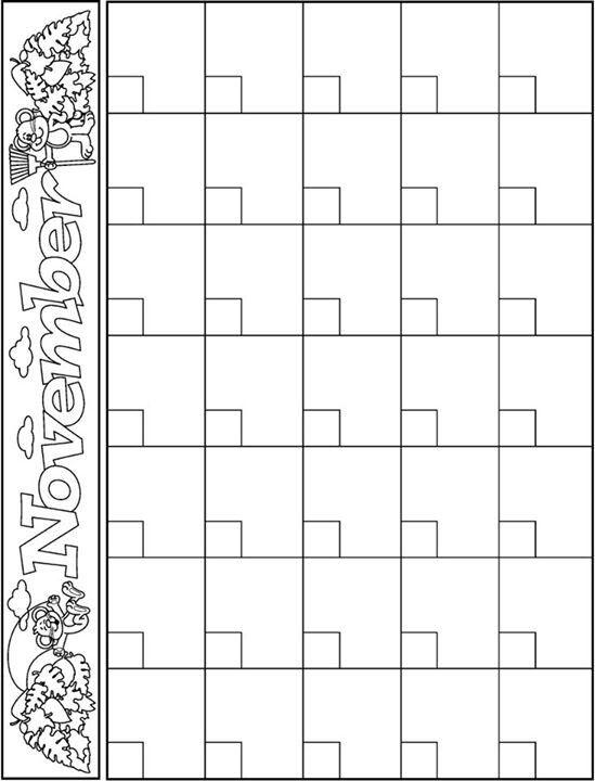 November Kindergarten Calendar : Best images about calendar templates on pinterest