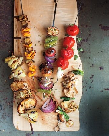 Healthier Kebabs: Artichoke + Crusty Bread, Eggplant + Bell Pepper, Potato + Celery + Onion, Tomato + Bocconcini, & Scallion + Mushroom, Wholeliving.com