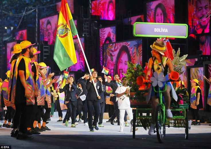 Track and field star Angela Castro of Bolivia leads her team rio 2016