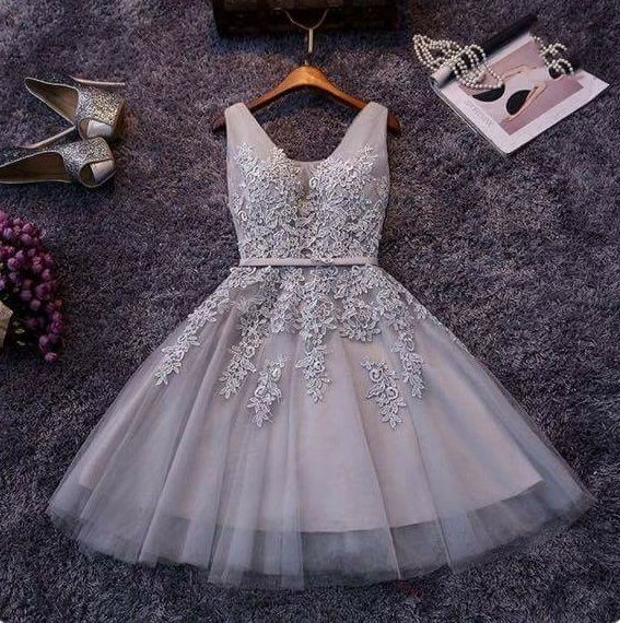 Cute A-line grey lace short prom dress,homecoming dresses