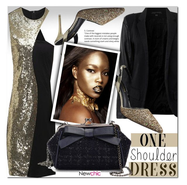 """""""One-Shoulder Dress"""" by cherry-bh ❤ liked on Polyvore featuring Online, dress, shop and newchic"""