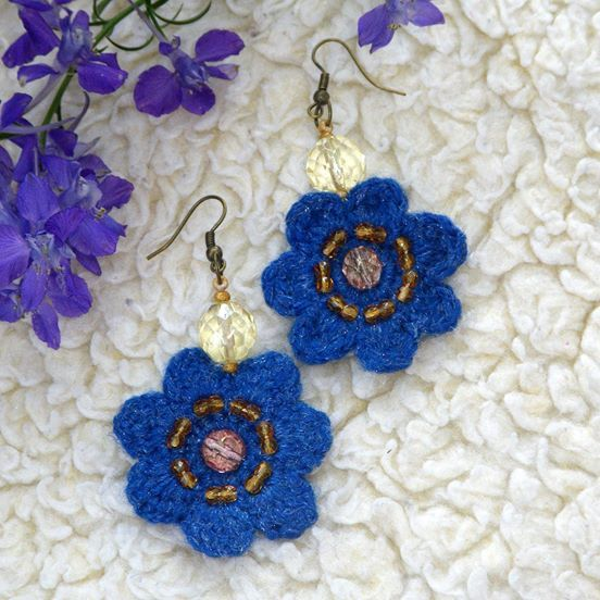 Blue violet flower earrings. Reminds spring and one of the first field flowers - forest violets. The color is positive and electric! Chic to wear ;) Light and strong. They are crocheted with bright blue acrylic yarn and embroidered with Czech crystals. About 4 cm in diameter, and 6 cm long with the ear piece.
