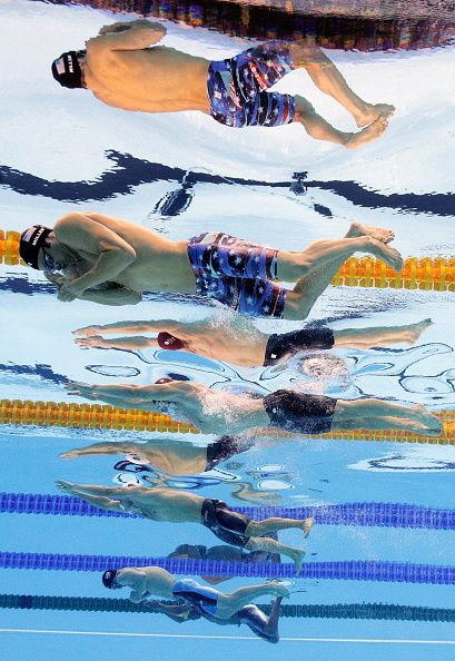 Cody Miller of the United States Adam Peaty of Great Britain Cameron van der Burgh of South Africa and Kevin Cordes of the United…