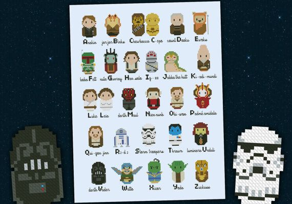 Star Wars parody alphabet sampler  PDF  cross stitch pattern