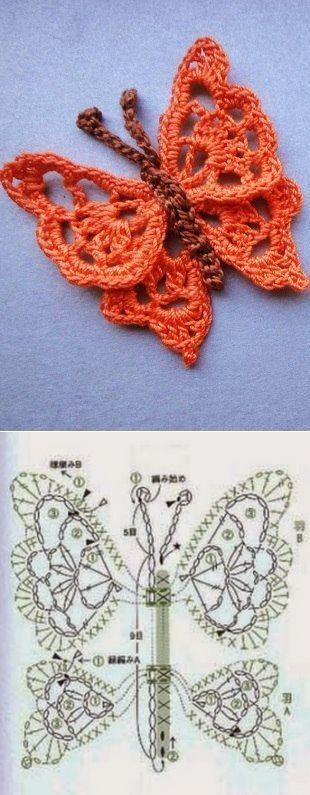 El esquema de la labor de punto por el gancho de la mariposa. El esquema simple de la labor de punto de la mariposa | la Economía doméstica para toda la familia
