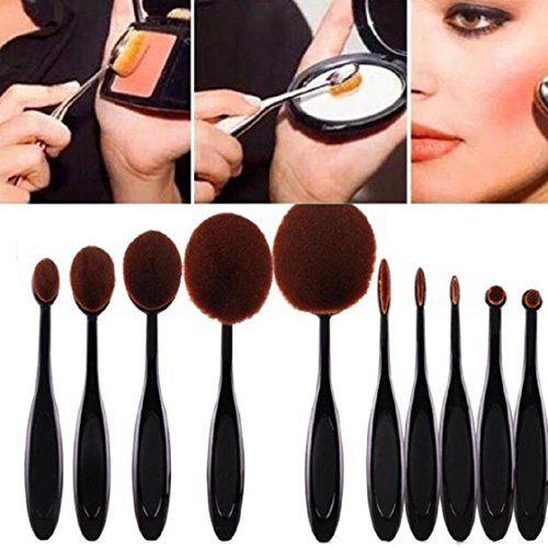Vovotrade 10PC / Set Professionelle make up pinsel BB Cream Puderpinsel Foundation B�rste Zahnb�rste Braue Foundation Eyeliner Lip Oval B�rsten