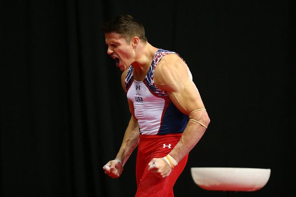 Chris Brooks reacts after competing on the pommel horse during day one of the…
