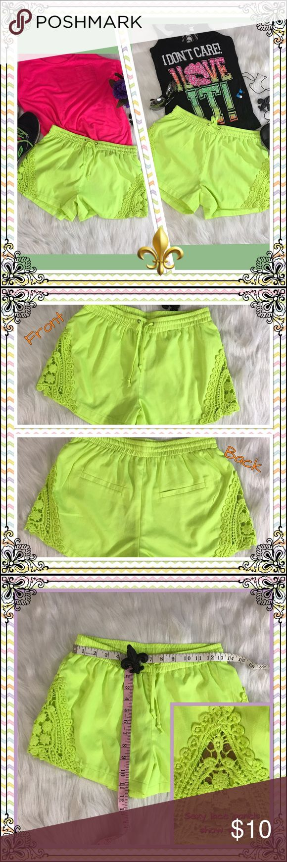 ⚜️NWT! TEA & CUP Neon shorts-Size S/M⚜️ NWT Tea & Cup neon yellow shorts with cut-out side lace detailing. (Sexy detail shows skin behind the lace - see pics above).  Super cute and super versatile!!  ❣️Make me an offer!❣️Bundle for discounts!❣️ Tea n Cup Shorts