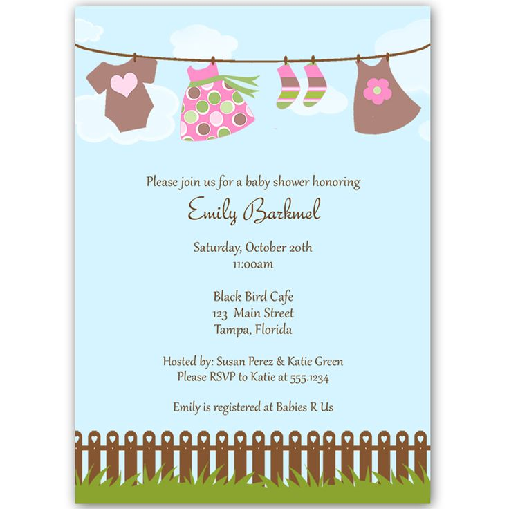 54 best Girl Baby Shower Invitations images on Pinterest Baby