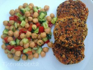 Carrot fritters Chickpea salad