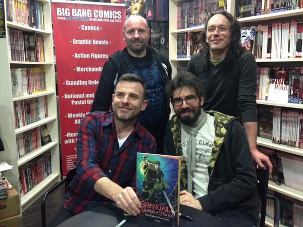 The launch of Granuaile in the Big Bang Comic store in Dundrum. Dave Hendrick, Luca Pizzari, Dee Cunniffe and Peter Marry.