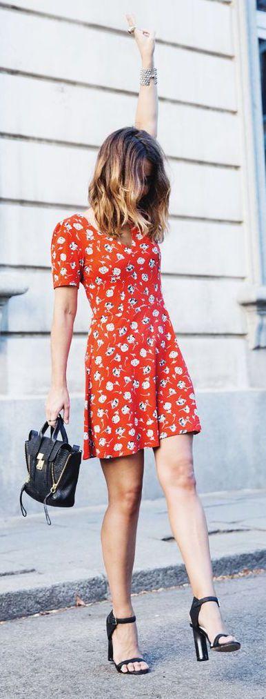 #summer #fashion / red pattern print dress