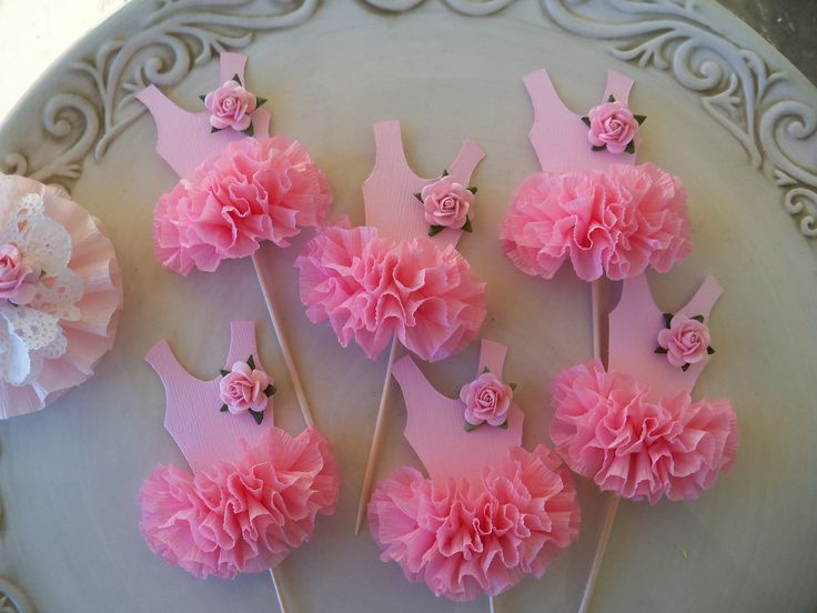 Ballerina Tutu Cupcake Toppers  Set of Six for Birthday Party. $12.00, via Etsy.