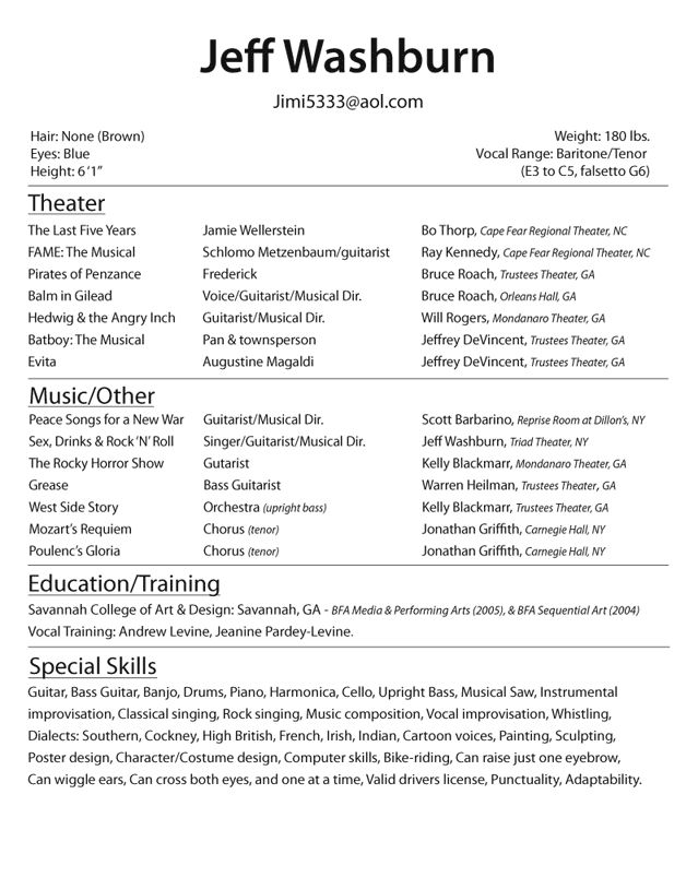 Resume Template For Actors Olivia Gray Actress  Gray Biji Us