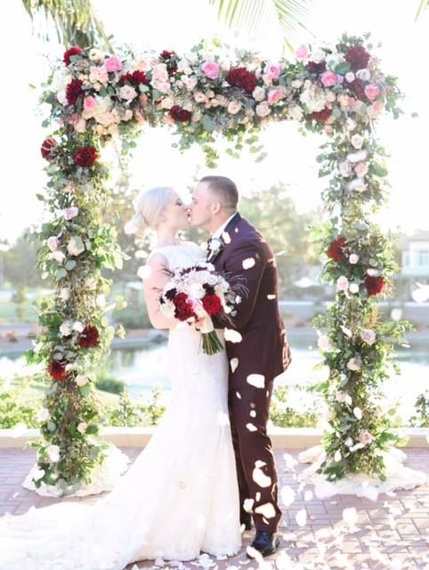 Blush And Burgundy Wedding Arch Garden Roses And Dahlias