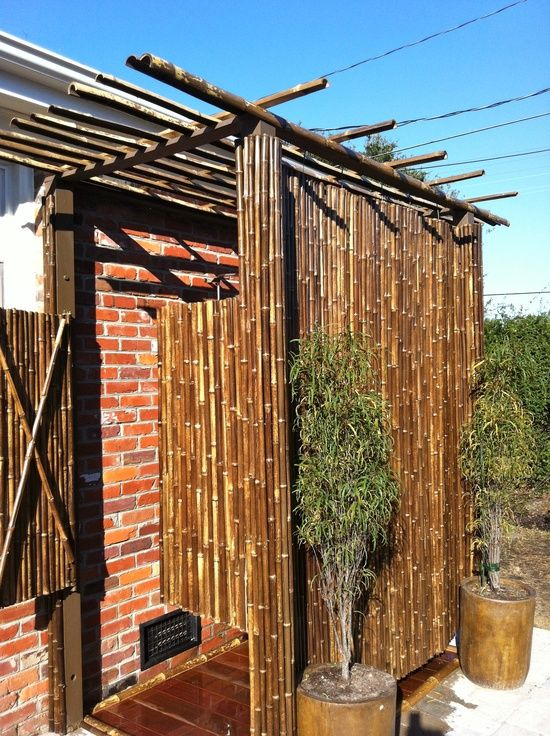 Bamboo constructed outdoor shower..    Need room for two.. Dont want to waste water. hehehehee...