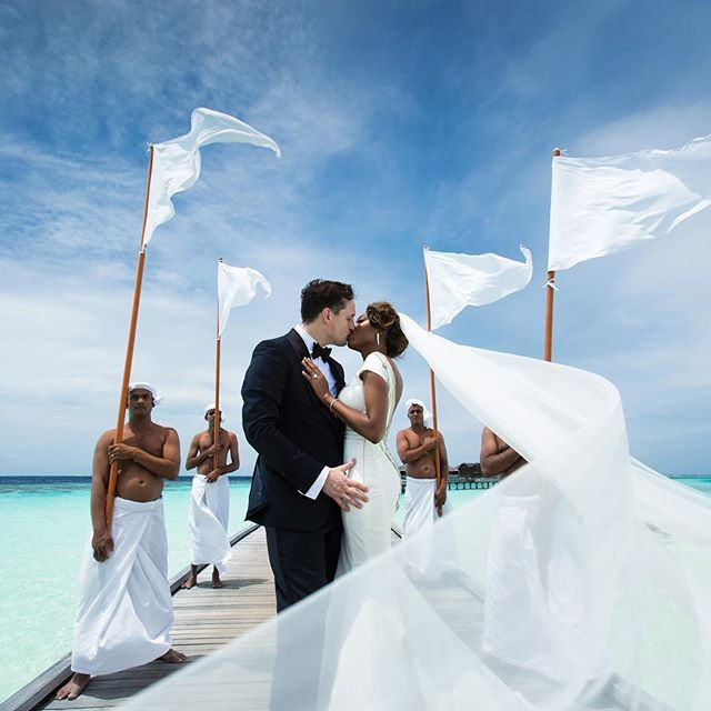 Amazing interracial couple wedding photography in the Maldives #love #wmbw #bwwm #swirl