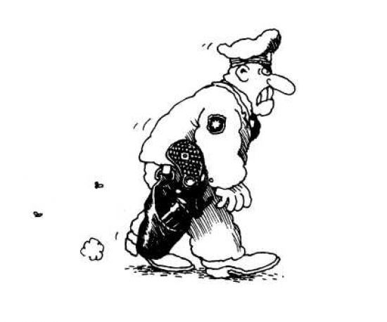 Gerhard Seyfrief - Polizist (um 1978) - caricatura museum frankfurt