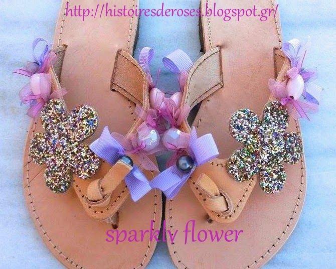 Histoires De Roses: sparkly flower Sandals for Girl