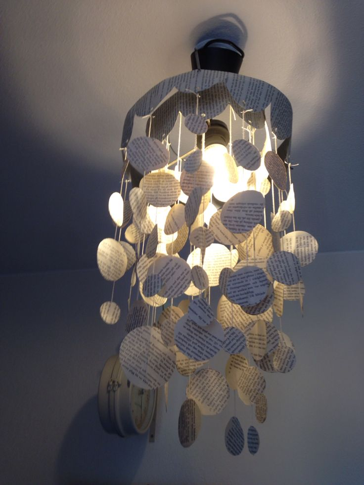 Cut out cirkels from an old book made a great lampshade