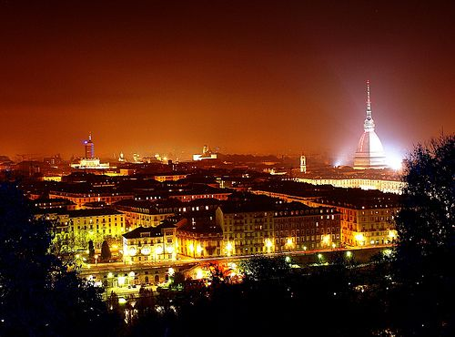 Turin, Italy (night landscape with the Mole Antoneliana)