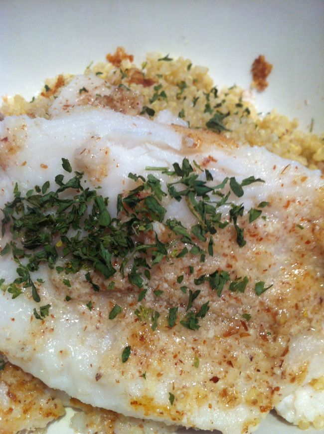 ingredients: dover sole, almonds (plain and unsalted), butter, parsley, sea-salt, and pepper. crush almonds in a food-processor (or magic bullet) and tada... you have almond flour! coat the raw fis...