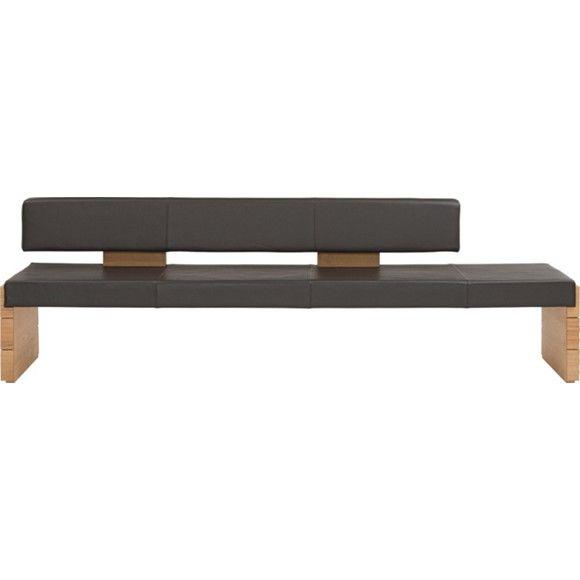 sitzbank in holz leder dunkelbraun eichefarben b nke. Black Bedroom Furniture Sets. Home Design Ideas