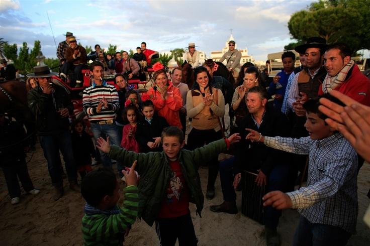 Children dance and sing during the pilgrimage of El Rocio in Almonte.