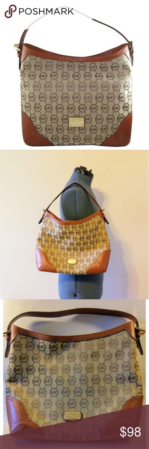 Michael Kors ¦ Millbrook Shoulder Bag (EUC) MK Millbrook leather & jacquard fabric, brown/gold shoulder Bag.   Gently used. Like new. No scratches or scrapes. Michael Kors Bags Shoulder Bags