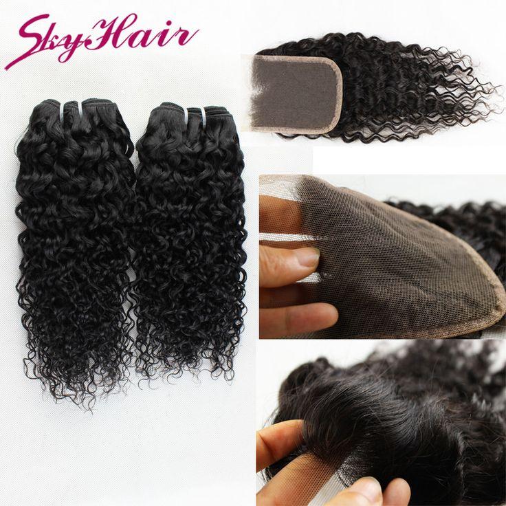 Китайский девственные волосы курчавые вьющиеся 3 пучки с закрытием неба человеческих волос продукты дешевые 6а Китайский странный вьющиеся с кружевом закрытие