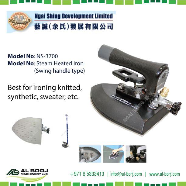 #NgaiShing NS-3700 Steam Heated Iron (Swing Handle Type) | Apply steam circulation heating mode, it could be operated in low temperature | for more detail and prices please contact us via sanjeeva@alborj.com | +971 52 6679481 | www.al-borj.com | https://shop.al-borj.com  #alborjmachineryllc #Steam #Iron #Industrial #Garment #Apparel #Dubai #UAE #Sharjah #Jeddah #Amman #Nairobi #AddisAbaba #DubaiLitfest