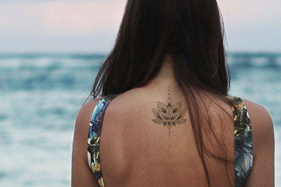 lotus tattoo / mandala fake tattoo / boho vintage by temptatco