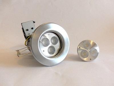Fire rated fitting with 6W LED GU10 bulb  http://www.avantechlighting.com/mall/productpage.cfm/avantech/_AL-DLF-GU10-SC-6W/483519
