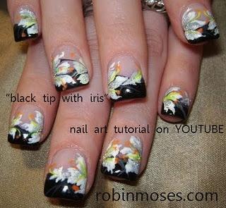 iris nail art flower tutorial nails black tip  http://www.youtube.com/watch?v=0JxkRoSDyyM