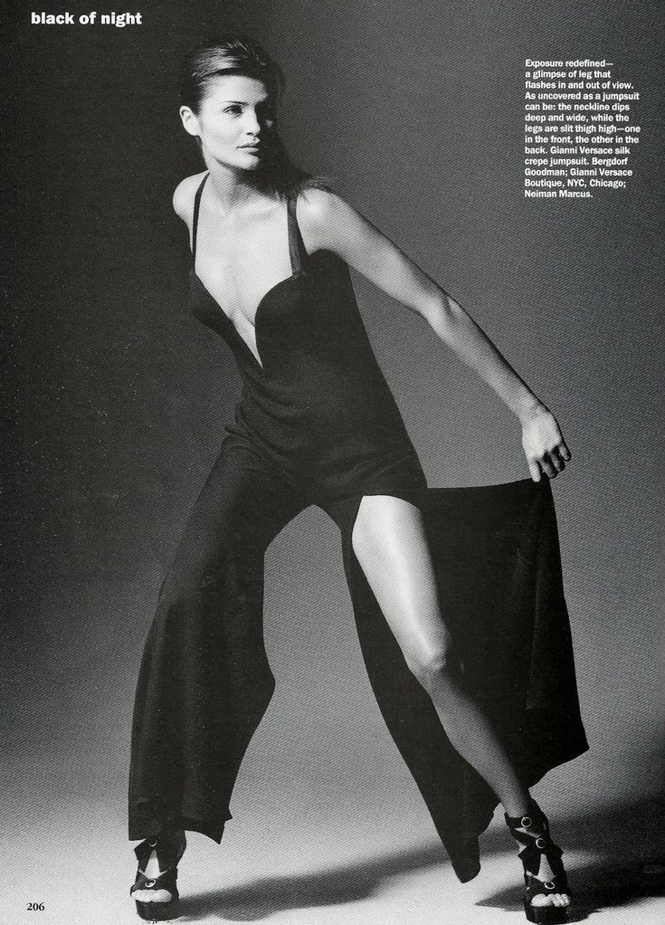 """Not a dress...but classy as one. Helena Christensen in a vintage Versace jumpsuit, photographed by Irving Penn for """"Vogue"""", 1993."""