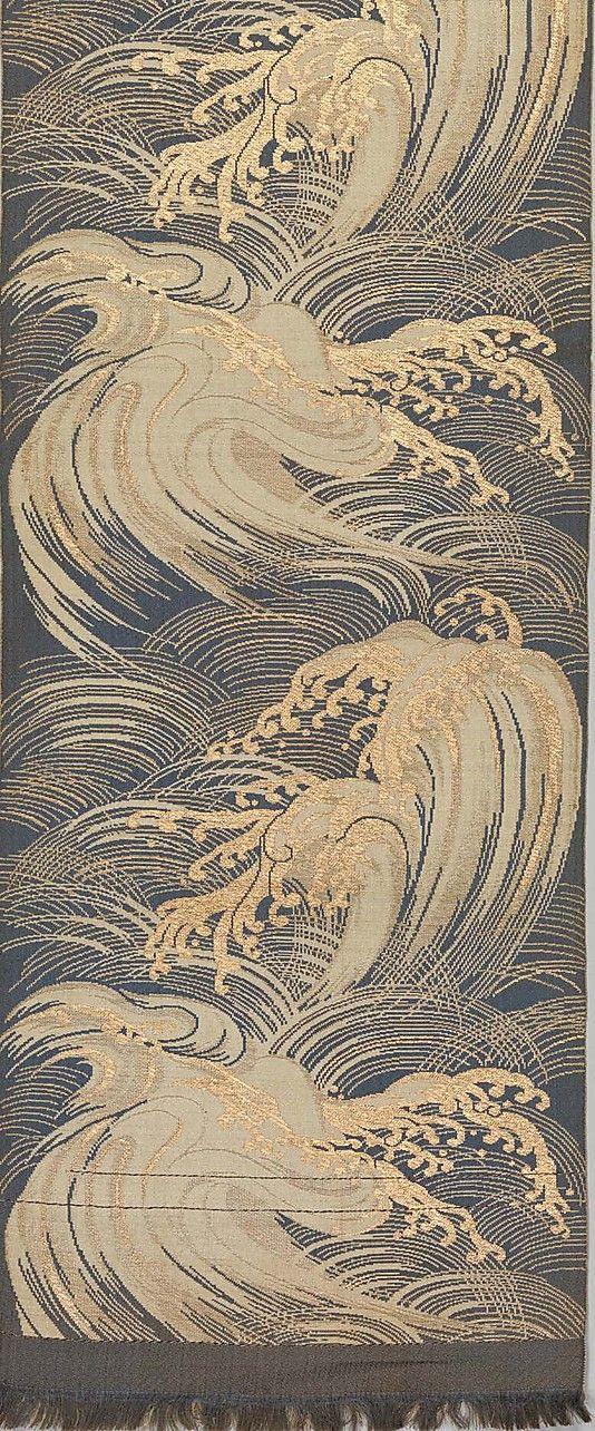 Obi with Waves Period: Meiji period (1868–1912) Culture: Japan Medium: Silk and metallic thread double cloth (fûtsû