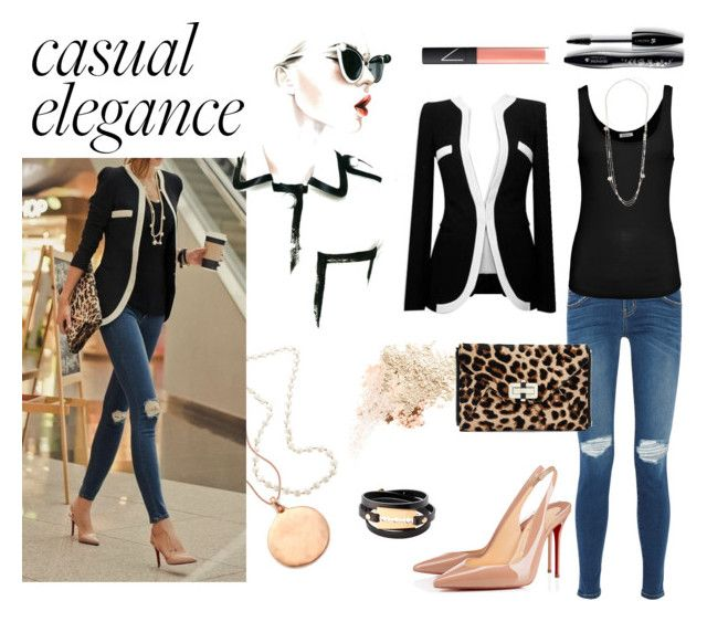 """""""Casual Elegance"""" by desiresinstyle on Polyvore featuring moda, Bobbi Brown Cosmetics, Too Faced Cosmetics, Monica Vinader, Christian Louboutin, McQ by Alexander McQueen, Current/Elliott, American Vintage, Dorothy Perkins e Diane Von Furstenberg"""