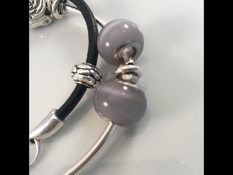 Chunky armband met zwart leer en zilver: categorie Beads & Charms - YouTube