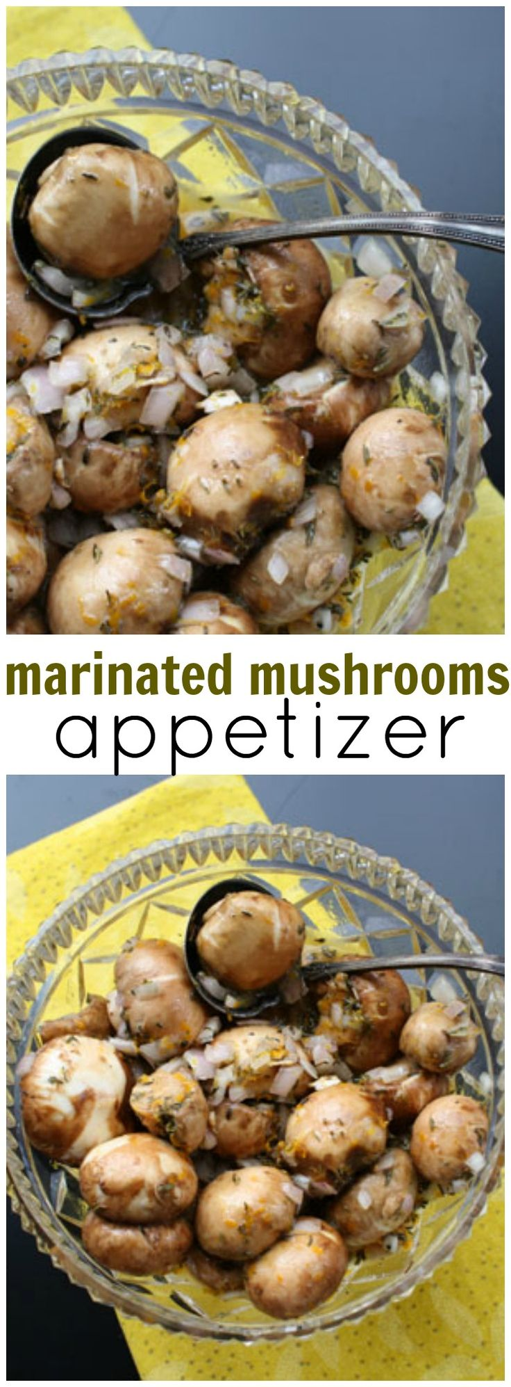 Mushrooms are simply marinated in orange juice, orange zest, shallots and thyme. A beautiful and flavorful marinated mushroom appetizer recipe for your next party. via @lannisam