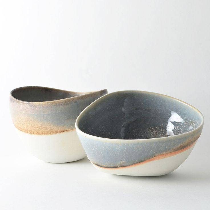Set of 2 asymmetrical bowls by Elaine Tian