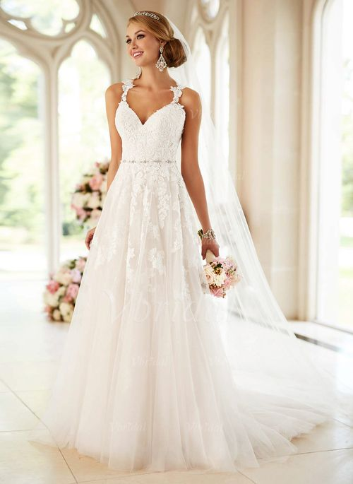 Wedding Dresses - $247.31 - A-Line/Princess Sweetheart Court Train Tulle Wedding Dress With Beading Appliques Lace (0025098272)