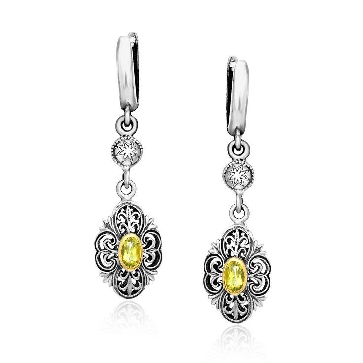 18K Yellow Gold & Sterling Silver Baroque Style Peridot Earrings