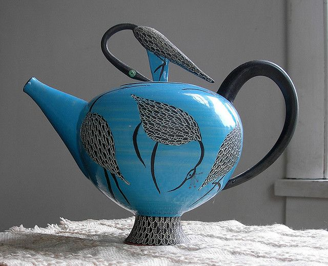 Blue Teapot - with Herons